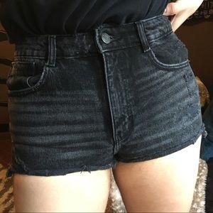 Zara TRF Authentic Denim Black Distressed Shorts